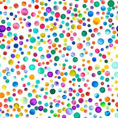 Wzór akwarela konfetti. Ręcznie malowane osobliwe koła. Koła akwarela konfetti. Fioletowy wzór rozproszonych kół. 98. - 183084891
