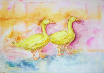 Two yellow gooses in the lake on a pink orange background. The dabbing technique gives a soft focus effect due to the altered surface roughness of the paper.