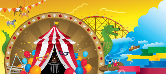 Vector Illustration of amusement park with fantasy theme.