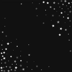 Random falling stars. Abstract chaotic mess with random falling stars on black background. Elegant Vector illustration.
