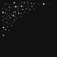 Random falling stars. Top left corner with random falling stars on black background. Remarkable Vector illustration.