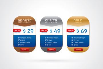 Vector of pricing table design template for website and application.