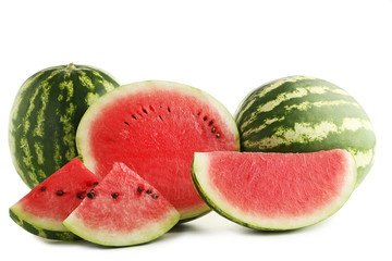 Slices of watermelons isolated on white background
