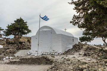 A small working chapel dedicated to Agios Panteleimon (Saint Pantaleon) inside the Castle of Monolithos in Rhodes, Greece.