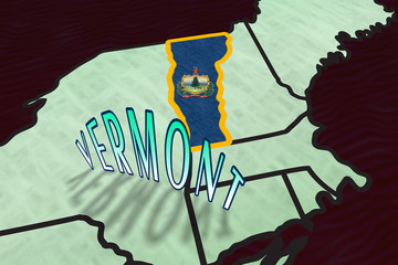 Vermont State Illustration in perspective USA map