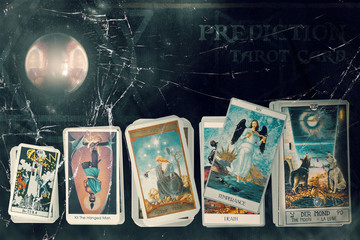 Tarot card / View of tarot card on the table.