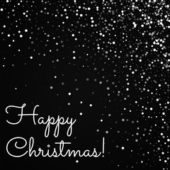 Happy Christmas greeting card. Random falling white dots background. Random falling white dots on black background.unique vector illustration.