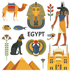 Egypt icons set. Vector collection of Egyptian culture and nature images, including pyramids, Anubis, Bastet, camel, Tutankhamen, scarab and mosque. Isolated on white.