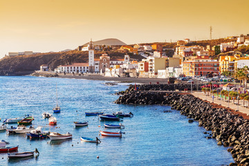Beautiful view over Candelaria city on the coast of Canary island in Tenerife, Spain