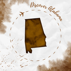 Alabama watercolor us state map in sepia colors. Discover Alabama poster with airplane trace and handpainted watercolor Alabama map on crumpled paper. Vector illustration.