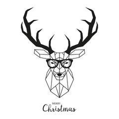 Hipster deer with glasses. Modern geometric vector illustration.