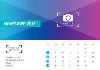 November 2018 desk calendar vector illustration