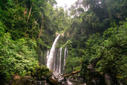 big and magical waterfall in bali. indonesia