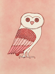 Cute Owl, symbol of Athena, goddess and Athens protector´s - Inspired on ancient classic greek pottery and ceramics red-figure drawings