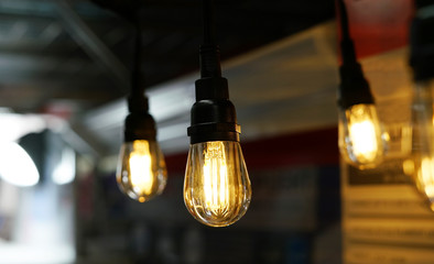 Close up on light bulb indoors