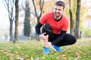 Knee injury and man runner with leg pain