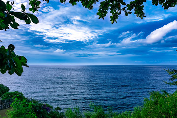 beautiful views of blue sea and sky like a picture in bali indonesia