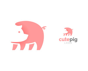 Cute Pink Pig Icon Symbol Logo