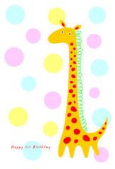 cute giraffe birthday greeting card vector