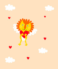 cute lion angel valentine greeting card