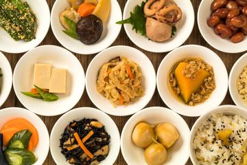 ごはんとおかずいろいろ Side dishes of rice japanese food