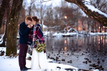 Beautiful wedding couples winter/Christmas wedding
