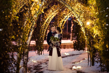Beautiful wedding couples winter/Christmas wedding