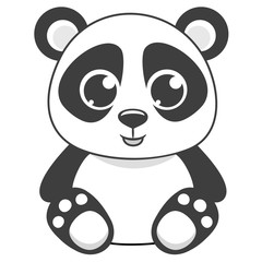 Cartoon panda vector illustration.