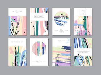 Set of creative universal floral cards in trendy style with Hand Drawn textures.