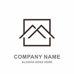 Simple Building House Shape Architecture Interior Construction Real Estate Business Company Stock Vector Logo Design Template