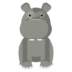 Isolated cute hippo