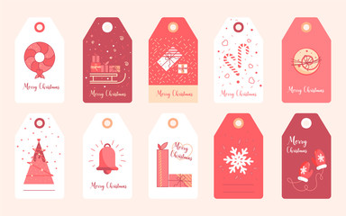 New Year stickers for gifts and clothes. Christmas label set elements vector