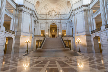 San Francisco City Hall Interiors. The Rotunda Facing the Grand Staircase and the Tennessee Pink Marble.