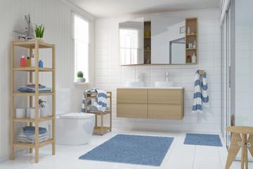 Skandinavisches, nordisches Badezimmer - Bad - Dusche