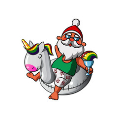 Santa Claus with inflatable Unicorn Swim ring