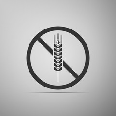 Gluten free grain icon isolated on grey background. No wheat sign. Food intolerance symbols. Flat design. Vector Illustration
