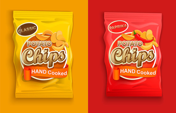 Set of two packaging with chips, classic and with paprika. Vector illustration.