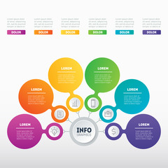 Business presentation or infographics concept with 6 options. Part of the report. Web Template of a info chart or diagram. Vector infographic template of technology or education process with 6 parts.