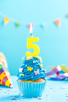 Fifth 5th birthday cupcake with candle. Card mockup.
