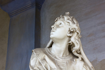 Marble Statue of a Woman Looking up