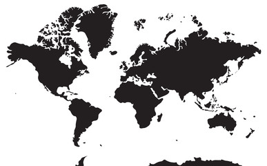 Black and white geographical map. Continents: Asia, Europe, North and South America, Africa, Australia, Antarctica.