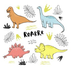 Vector collection of cute hand drawn dinosaurs, including T-rex, Pterodactyl, Brachiosaurus and Triceratop, isolated on white.