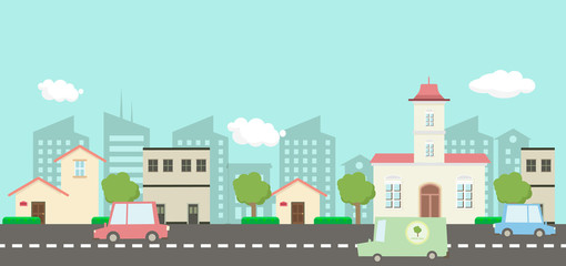 Street in public park with nature landscape and car , building background vector illustration.Main street scene vector.City street with sky background