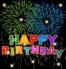 Happy birthday with fireworks background