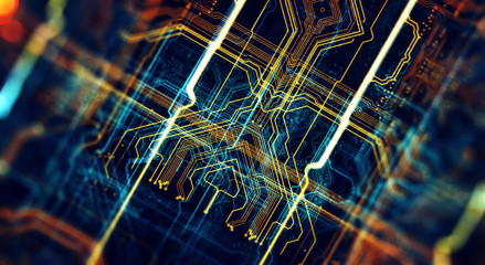 Printed circuit board in the server  executes the data/Abstract technological background made of different element printed circuit board. Depth of field effect and bokeh