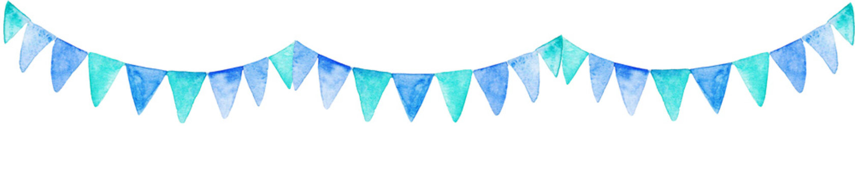 Watercolor blue party flags banner. For design, print or background