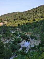 Pozas en Aguaviva, localidad y municipio de la provincia de Teruel en la comunidad de Aragón, España