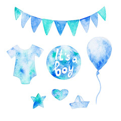 Watercolor baby shower set. Its a boy theme with baby clothes and balloons. For design, print or background