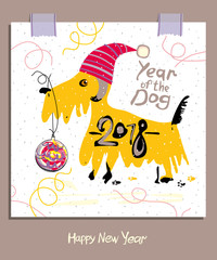 Hand drawn illustration with a Yellow Terrier and a Christmas ball. 2018. Happy New Year greeting card.