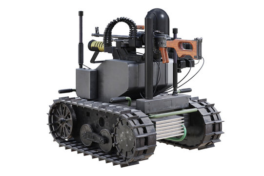 Military robot army mechanic vehicle. 3D rendering